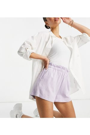 ASOS Tall ASOS DESIGN Tall washed 3 piece linen suit shorts with paperbag waist in lilac-Purple