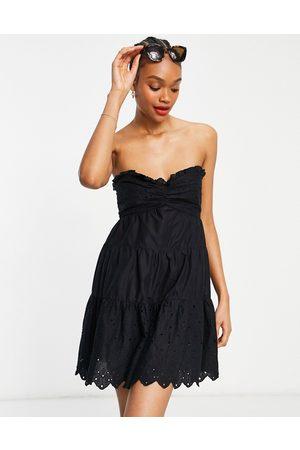 River Island Broderie bandeau mini beach dress in black