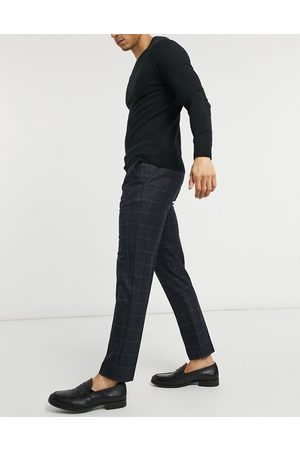 River Island Muži Chino - Skinny smart trousers in navy check