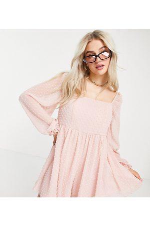 ASOS ASOS DESIGN petite dobby playsuit in pink