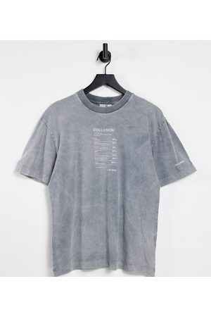 COLLUSION T-shirt with print in acid wash-Grey