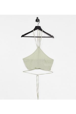 Missguided Ženy Crop top - Co-ord textured crop top with tie up detail in sage-Green
