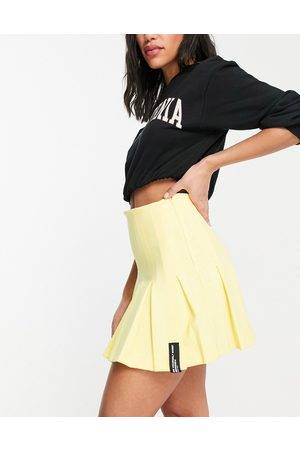 Bershka Half pleat tennis skirt in yellow