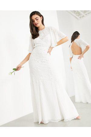 ASOS Gabriella floral embellished wedding dress with flutter sleeve-White