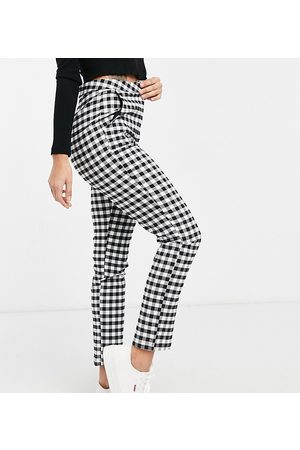 Reclaimed Vintage Inspired original cigarette trouser in gingham print-Black
