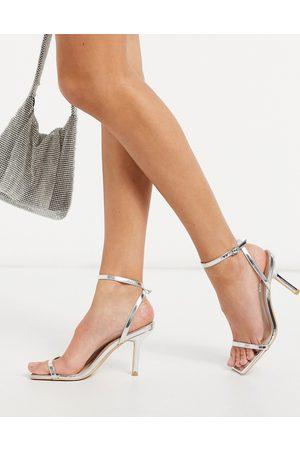 Glamorous Ženy S otevřenou špičkou - Barely there heeled sandals in silver