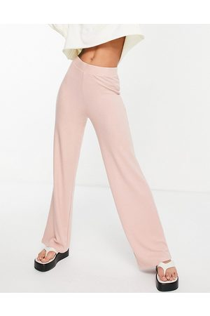 Pieces Matilde highwaisted wide leg knitted trouser co ord in misty rose-Pink