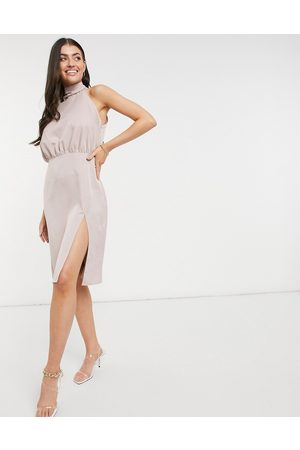Vesper Halterneck midi dress in blush pink