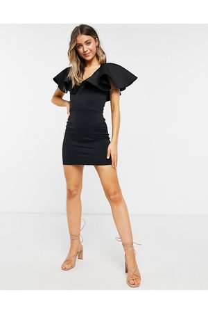 True Violet Plunge mini dress with extreme frill in black