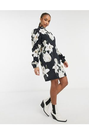 Object Ruched sleeve dress in floral print-Multi
