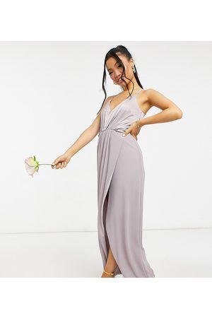 TFNC Petite Ženy Ke krku - Bridesmaid satin halterneck top maxi dress in grey