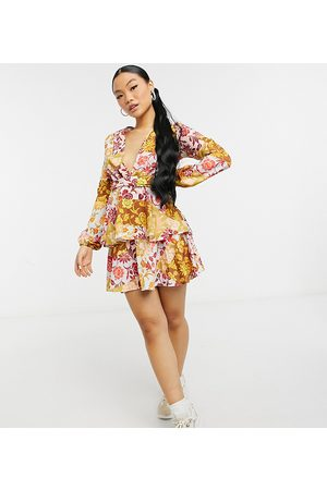 John Zack Petite Exclusive plunge front tiered ruffle mini dress in contrast floral-Multi