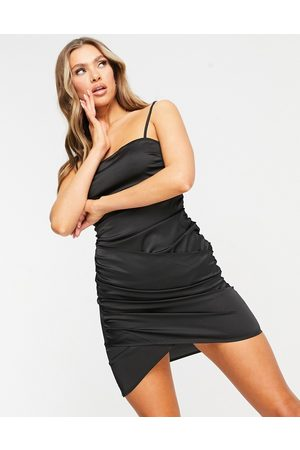 NaaNaa Crossover satin bodycon dress in black