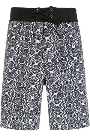 Amir Slama Striped geometric print shorts