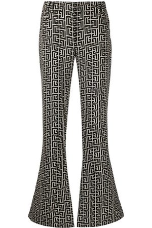 Balmain Logo-jacquard flared trousers