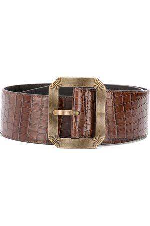 Saint Laurent Crocodile-embossed square corset belt