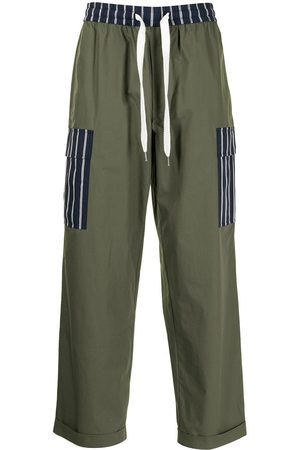 Ports V Striped-panel drawstring trousers