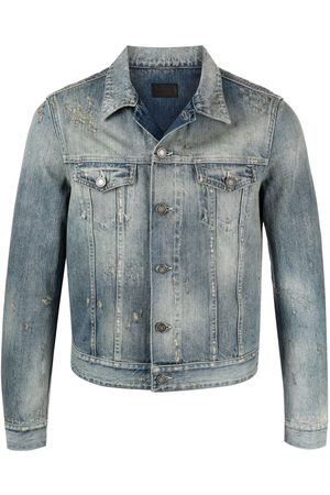 Saint Laurent Ripped-detail denim jacket