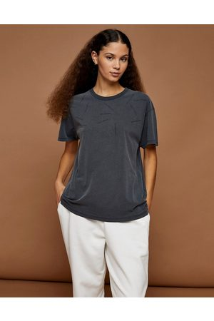 Topshop Premium Leisure distressed t-shirt in charcoal-Grey