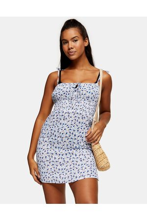 Topshop Ruched ditsy mini beach dress in blue