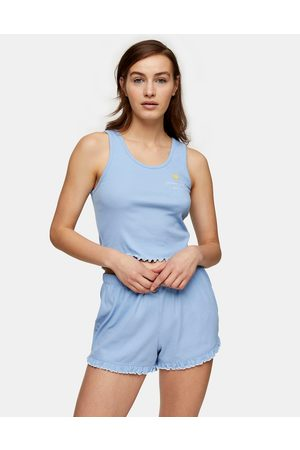 Topshop Wakey' vest and short set in blue
