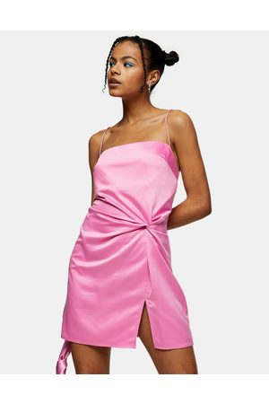 Topshop Satin mini dress with knot detail in pink