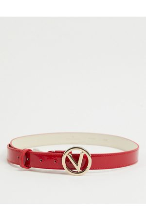 Valentino by Mario Valentino Round logo belt in red