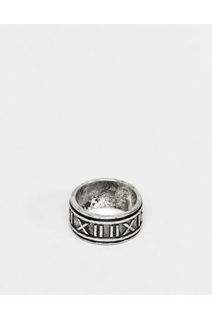 ASOS Band ring with roman numerals in burnished silver tone