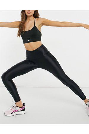 Reebok Ženy Legíny - Training high shine high waisted panelled leggings in black