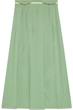 Gucci Ženy Plisovaná - GG chain belt pleated skirt