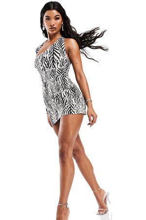 AsYou Ženy S potiskem - Micro mini skirt in zebra print-Multi
