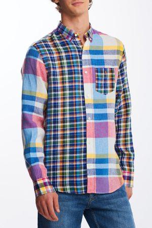 Gant Muži S dlouhým rukávem - Košile D2.Reg Linen Madras Mixed Panel Bd