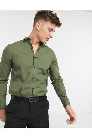 New Look Muži S dlouhým rukávem - Long sleeve poplin shirt in khaki-Green