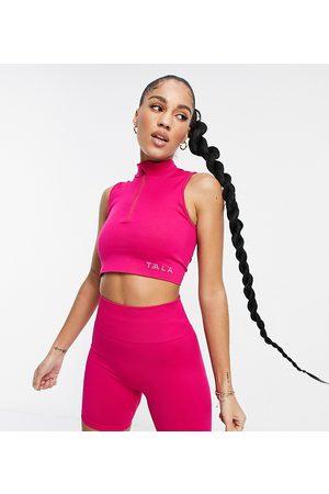 Tala Ženy Sportovní - Zahara medium support bra with half zip in pink - exclusive to ASOS