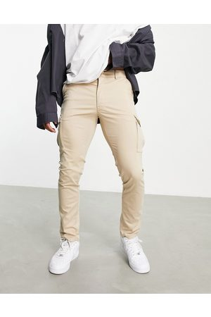 Jack & Jones Premium skinny stretch cargo trousers in beige-Neutral