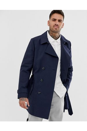 ASOS Shower resistant double breasted trench in navy