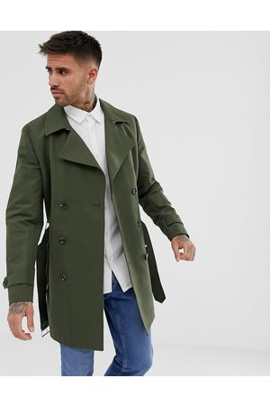 ASOS Shower resistant double breasted trench in khaki-Green