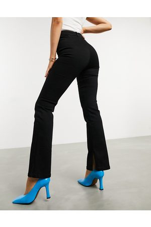 ASOS High rise '00's' stretch flare jeans in black