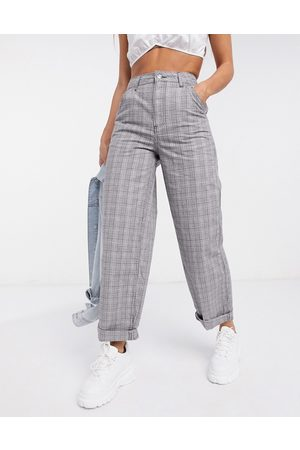 ASOS Slouchy chino trouser in grey check print-Multi