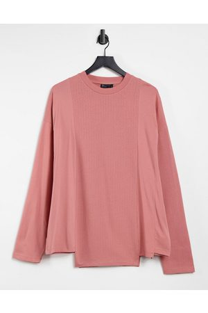 ASOS ASOS DEIGN long sleeve oversized contrast t-shirt in blush pink-Red