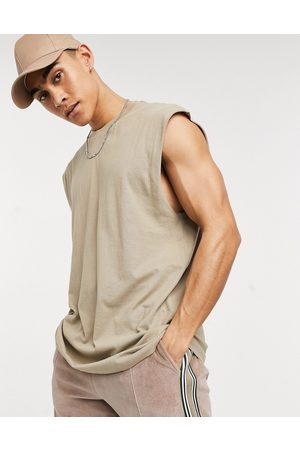 ASOS Oversized longline sleeveless t-shirt in beige
