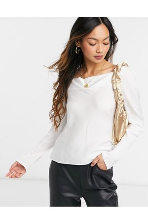 ASOS Long sleeve bias cut satin blouse with cowl neck in oyster-Beige