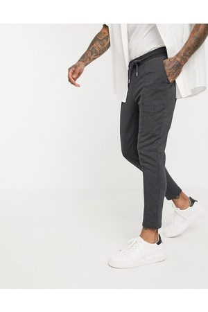ASOS Smart skinny joggers with pin tuck in charcoal marl-Grey