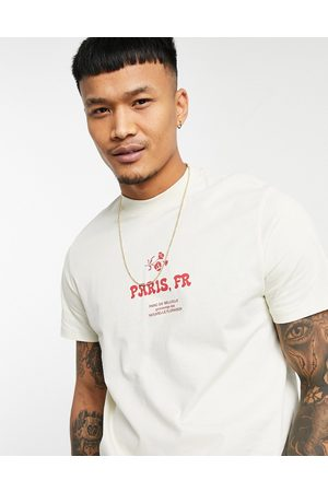 ASOS T-shirt in beige with front city print