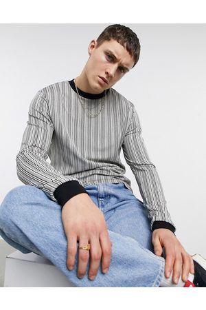 ASOS Long sleeve t-shirt in contrast black and white jacquard aztec