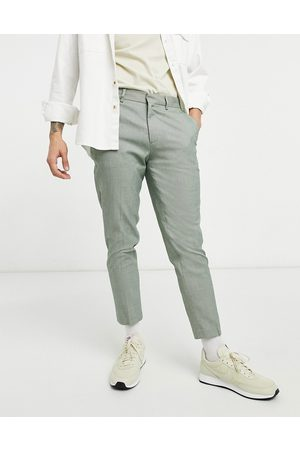 ASOS Muži Chino - Khaki micro check skinny smart trouser in faux wool-Green
