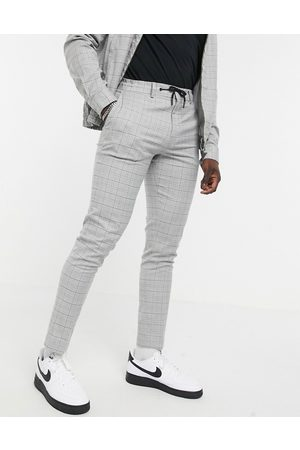 ASOS Muži Chino - Co-ord smart skinny trousers with draw cord waist in grid check grey marl-Brown