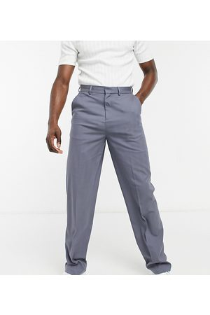 ASOS DESIGN Muži Chino - Tall wide leg smart trousers in grey faux wool herringbone