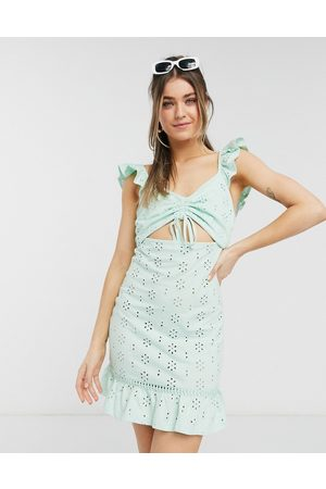 adidas Broderie mini dress with cut out and frill straps in mint-Green