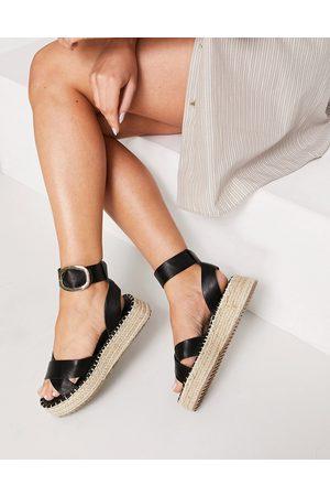 ASOS Ženy Espadrilky - Justice flatform espadrille sandals in black